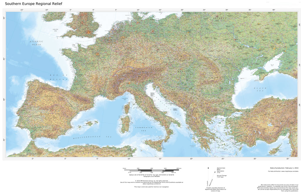 Regional Relief - Southern Europe